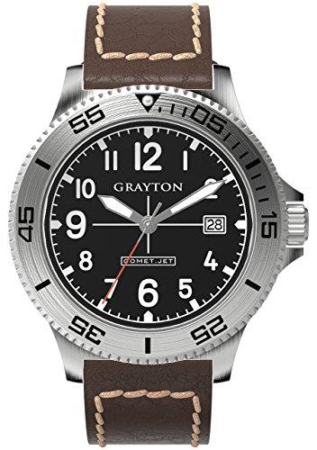 Grayton Herren Armbanduhr Comet Jet Analog Quarz Leder GR 0014 003 6