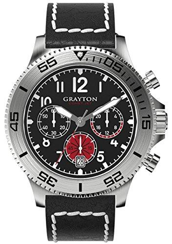 Grayton Herren Armbanduhr Comet Jet Analog Quarz Leder GR 0014 004 1