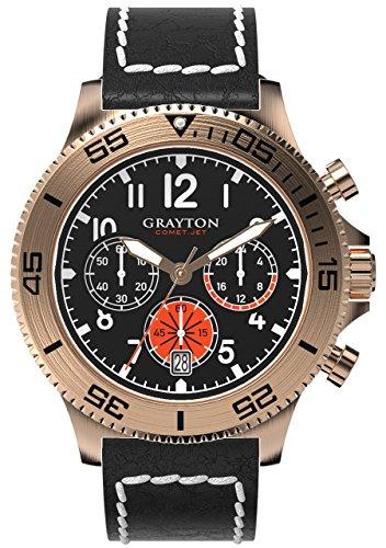 Grayton Herren Armbanduhr Comet Jet Analog Quarz Leder GR 0014 004 2