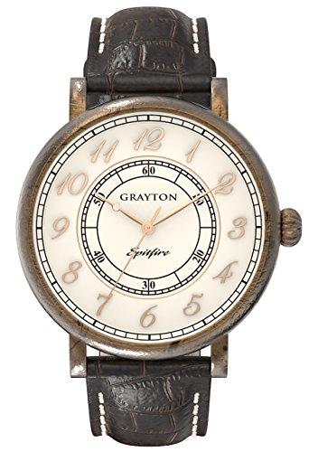 Grayton Herren Armbanduhr Spitfire Analog Quarz Leder GR 0014 001 6