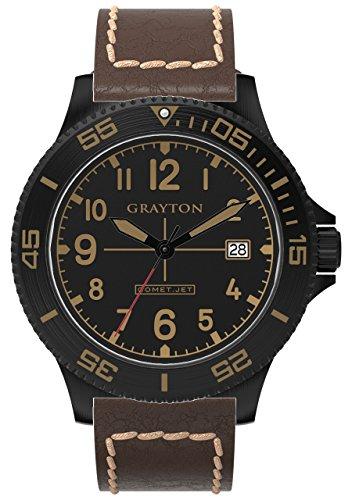 Grayton Comet Jet Herren Quarzuhr mit schwarzem Zifferblatt Analog Anzeige und braunem Lederband gr 0014 003 2