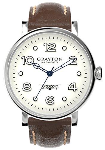 Grayton S 8 Kalkutta Herren Quarz Uhr mit weissem Zifferblatt Analog Anzeige und braunem Lederband gr 0014 007 6
