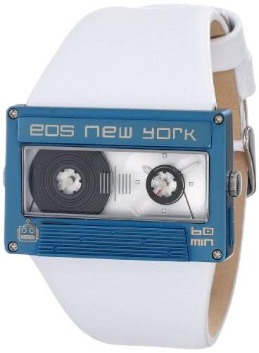 Eos New York Mixtape Watch weiss  blau Uhr im Kassettenlook Tape
