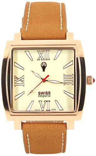 Swiss EMPORIO Herren Armbanduhr Quarz Swiss Made mit Beige Zifferblatt Analog Anzeige und braunem Lederband se04crrg10