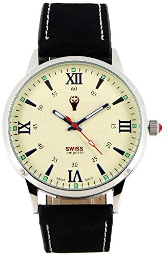 Swiss Emporio Herren Armbanduhr analog Quarz Lederarmband und Zifferblatt in Schwarz hergestellt in der Schweiz SE03BKSL10