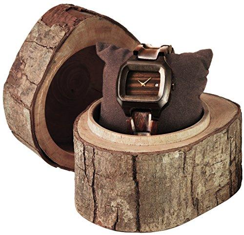 MATOA Alor Armbanduhr handgefertigt aus recyceltem Ebenholz Unisex Holzuhr fuer Damen und Herren Edle Geschenk Verpackung aus Mahagoni Holz