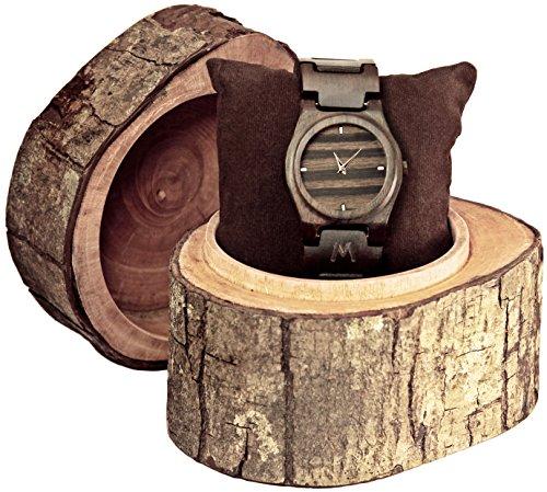 MATOA Gili Holz Armbanduhr handgefertigt aus recyceltem Ebenholz Unisex Holzuhr fuer Damen und Herren Edle Geschenk Verpackung aus Mahagoni Holz