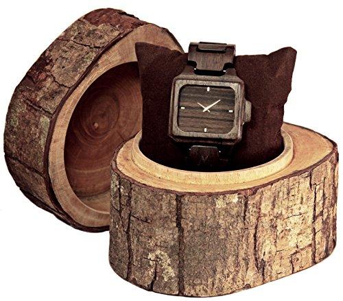 MATOA Rote Holz Armbanduhr handgefertigt aus recyceltem Ebenholz Unisex Holzuhr fuer Damen und Herren Edle Geschenk Verpackung aus Mahagoni Holz