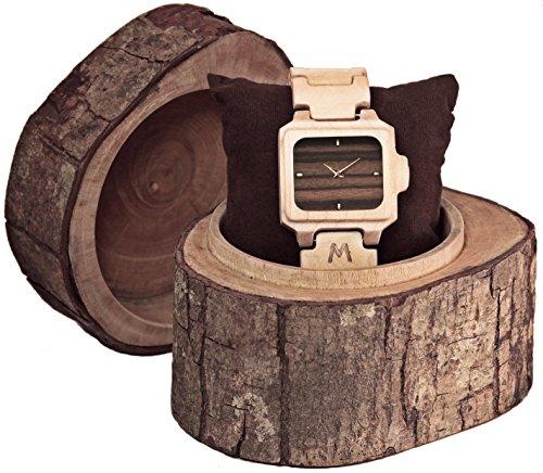 MATOA Sumba Holz Armbanduhr handgefertigt aus Kanadischem Ahorn Unisex Holzuhr fuer Damen und Herren Edle Geschenk Verpackung aus Mahagoni Holz