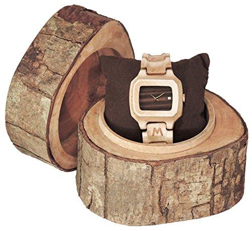 MATOA Sunda Holz Armbanduhr handgefertigt aus Kanadischem Ahorn Unisex Holzuhr fuer Damen und Herren Edle Geschenk Verpackung aus Mahagoni Holz