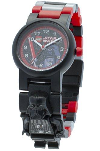 LEGO Star Wars 8020417 Darth Vader mit Minifigur und Gliederarmband zum Zusammenbauen schwarz rot Kunststoff Gehaeusedurchmesser 28 mm analoge Quarzuhr Junge Maedchen offiziell