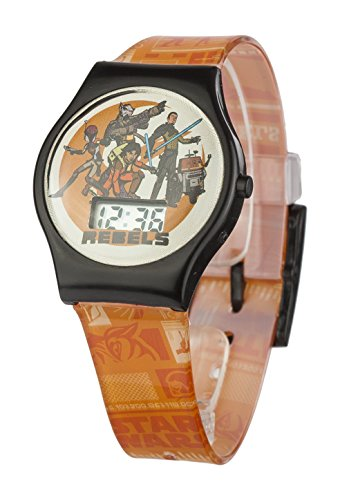 Star Wars Rebels Unisex Digital Uhr mit Zifferblatt Digital Display und Orange Kunststoff Gurt swrb1