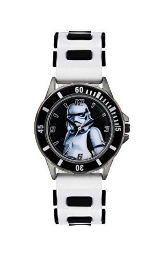 Star Wars Kinder Quarzuhr mit mehrfarbigem Zifferblatt Analog Anzeige und weissem Gummiband STM3518