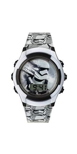 Star Wars Boy s Digital Uhr mit weissem Zifferblatt Digital Display und schwarz Kunststoff Gurt swm3069