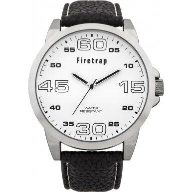 Firetrap FT2014W mit weissem Zifferblatt Quarz Analog Anzeige schwarzes PU Armband