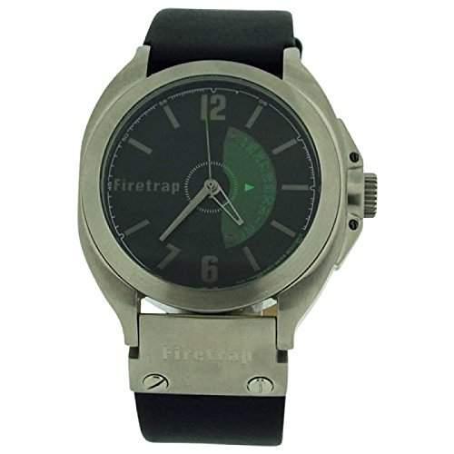 FIRETRAP Analoge Herren Armbanduhr mit schwarzem Ziffernblatt, Kalenderfunktion und schwarzem Lederarmband FT1005B