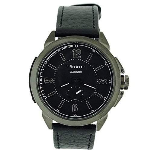 FIRETRAP Analoge Herren Armbanduhr mit schwarzem Ziffernblatt & Nebenskala sowie schwarzem Lederarmband FT1007W