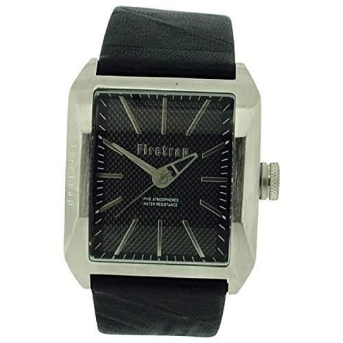 FIRETRAP Analoge Herren Armbanduhr mit schwarzem, texturiertem Ziffernblatt und schwarzem Lederarmband FT1061S