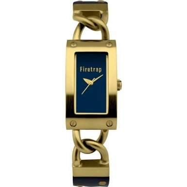 Firetrap Damen Quarzuhr mit Blau Zifferblatt Analog-Anzeige und braunem Lederband FT1078G