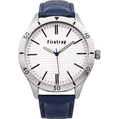 Firetrap Mens Quarz-Uhr mit weissem Zifferblatt Analog-Anzeige und blauem PU Strap FT2006BL