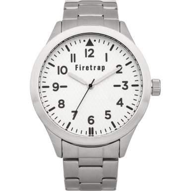 Firetrap MenQuarz-Uhr mit weissem Zifferblatt Analog-Anzeige und Silber-Armband-FT2009W