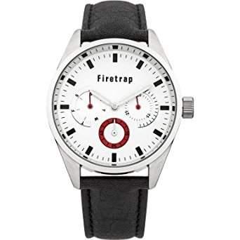 Firetrap MenQuarz-Uhr mit weissem Zifferblatt Analog-Anzeige und Schwarz PU Strap FT2010W