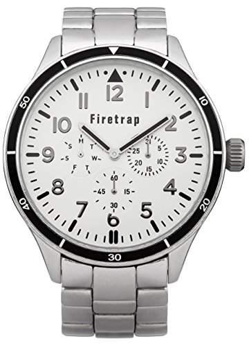 Firetrap menQuarz-Uhr mit weissem Zifferblatt Analog-Anzeige und Silber-Armband-FT2015SM andere