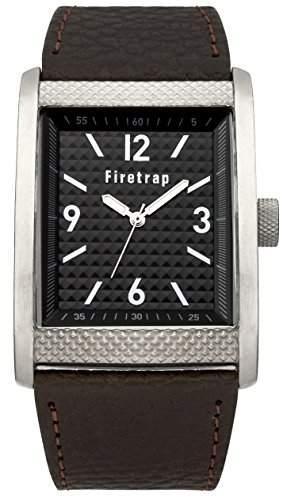 Firetrap Herren Quarz-Uhr mit schwarzem Zifferblatt Analog-Anzeige und braunem PU Gurt ft2016br