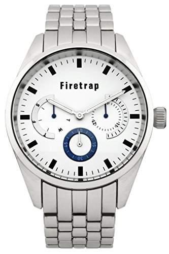 Firetrap menQuarz-Uhr mit weissem Zifferblatt Analog-Anzeige und Silber-Armband-FT2018SM andere