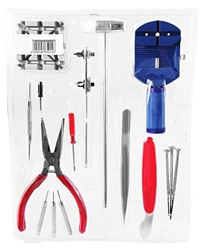 16 tlg Set Uhrenwerkzeug Uhrenwerkzeugset Reparatur Set mit Armband Gehaeuseoeffner und Einstellwerkzeug
