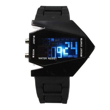 Boolavard TM Stahl hintere Abdeckung Kaempfer Uhren B 2 Tarnkappenbomber Form Fashion Cool Sports LED Uhr Geschenk Uhr