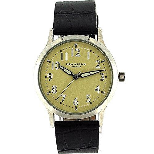 IDENTITY LONDON Einfache mit beigefarbenem Ziffernblatt lumineszierenden Zeigern und PU Armband AN73