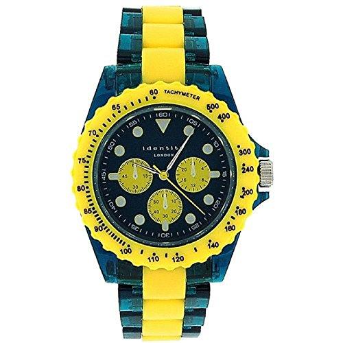 IDENTITY LONDON 932 3489 Unisex Armbanduhr in gelb gruen mit zusaetzlichen Pseudo Ziffernblaettern und Plastikarmband