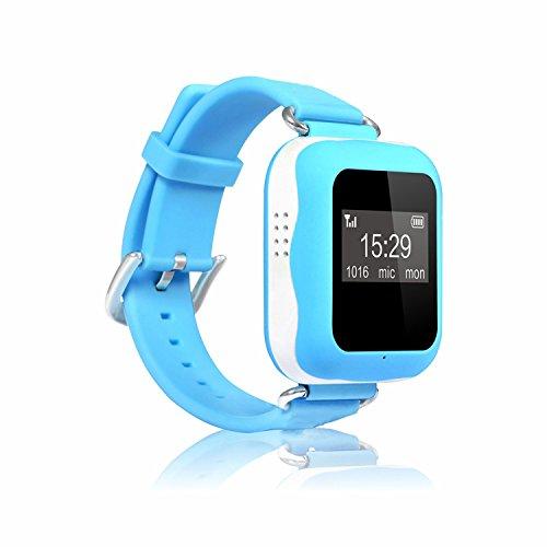 AmaxXon GPS Smart Uhr mit Ortung und Telefon Freisprechfunktion inkl gratis Echtzeit Standortabfrage fuer Android iPhone App blau