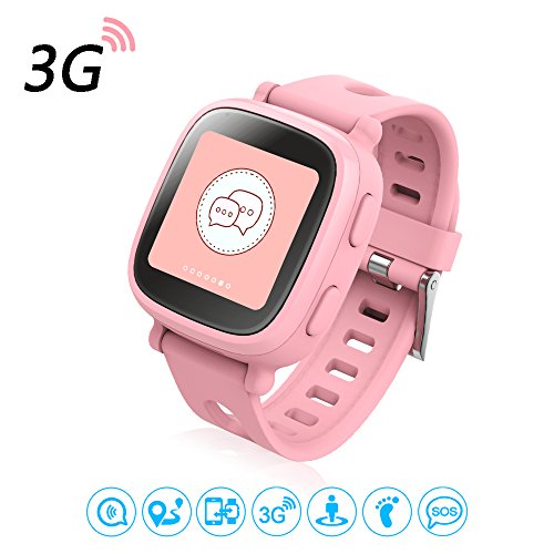 Oaxis Kinder Touch Screen 3G GPS Smart Watch Kids Smartwatch mit Fitness Anti verloren SOS Finder Geo Fechten Pink