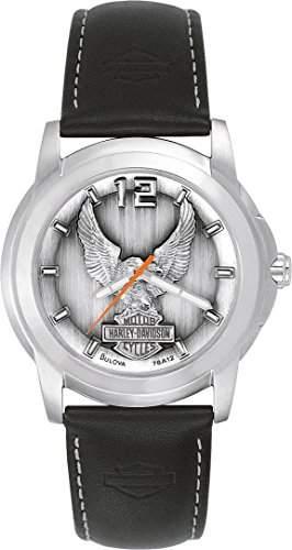 Harley Davidson Herren-Quarzuhr mit grauem Zifferblatt Analog-Anzeige und Weiss Lederband 76A12