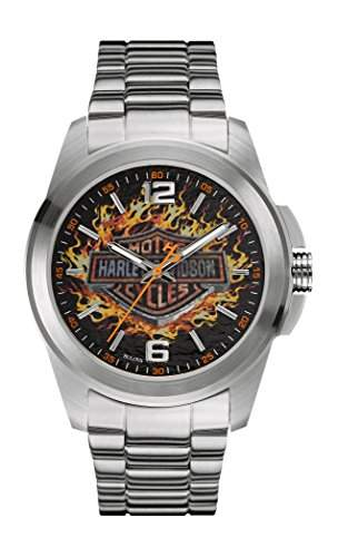 Harley Davidson Herren-Quarzuhr mit schwarzem Zifferblatt Analog-Anzeige und Silber Edelstahl Armband 76A147