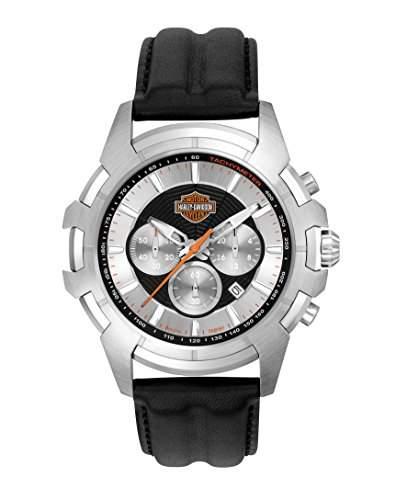 Harley Davidson Men76B161 Armbanduhr Chronograph Leder schwarz