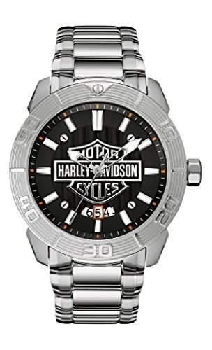 Harley Davidson Herren Quarzuhr mit grauem Zifferblatt Analog-Anzeige und Silber Edelstahl Armband 76b169