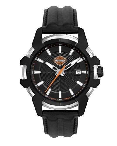 Harley Davidson Herren-Quarzuhr mit schwarzem Zifferblatt Analog-Anzeige und schwarz Lederband 78b123
