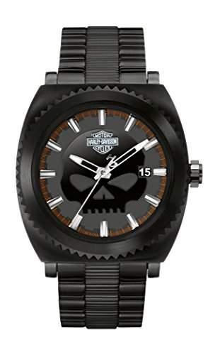 Harley Davidson Herren-Quarzuhr mit schwarzem Zifferblatt Analog-Anzeige und schwarz vergoldet Edelstahl Armband 78b135