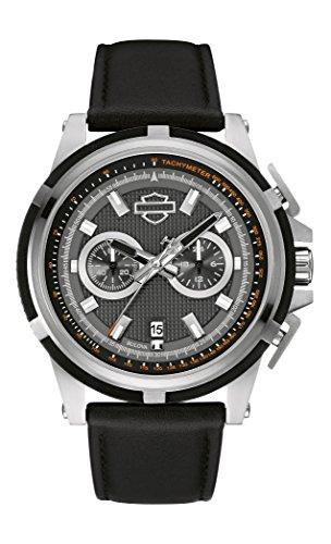 Harley Davidson Herren Armbanduhr Quarz mit grau Zifferblatt Chronograph Anzeige und schwarz Lederband 76b168