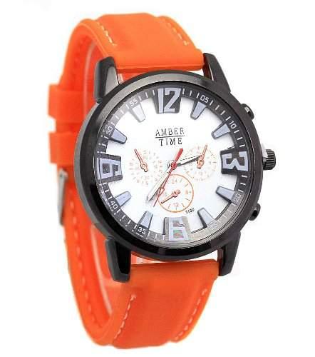 Sportliche Armbanduhr in knalligem Ice Neon Orange von Amber Time Watch mit weissem Ziffernblatt