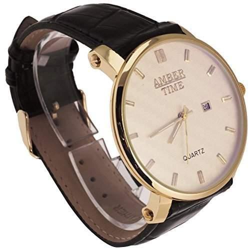 Amber Time Business - Hochwertige Herren Armbanduhr XL mit Datumsanzeige in Gold Schwarz