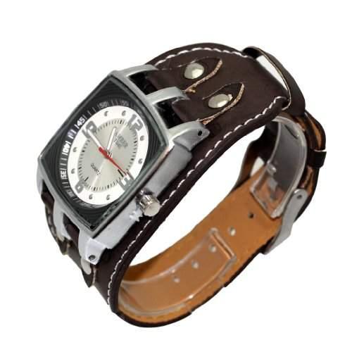 Amber Time Herren Armbanduhr Breites Armband Uhr Stainless Steel Braun