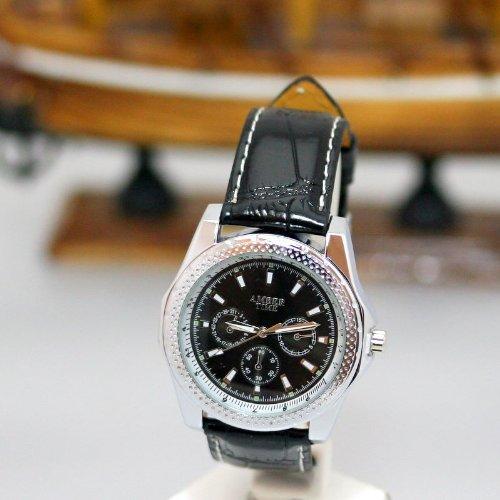 feine Amber Time Designeruhr Military Unisex Leder Chrono Look Designer Uhr
