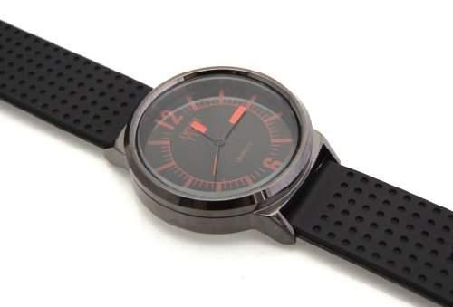 Amber Time Schwarze Herren Armbanduhr Rote Indizes Schwarzes Zifferblatt