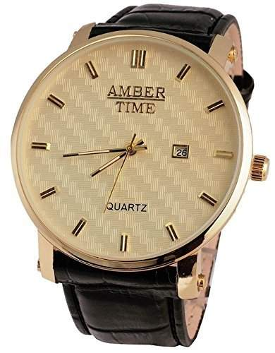 """Herren Armbanduhr Amber Time """" NWA 20 """" mit Datumsanzeige und hochwertigem Lederarmband"""