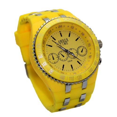 New Style XXL Silikon Armbanduhr in knall Gelb Amber Time Analog Uhr