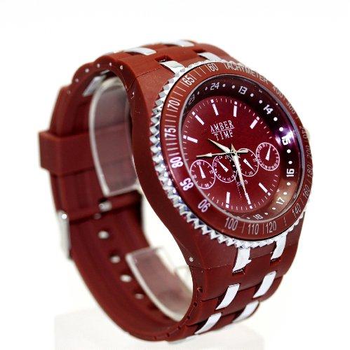 XXL Silikon Armbanduhr in Braun Amber Time Analog Uhr